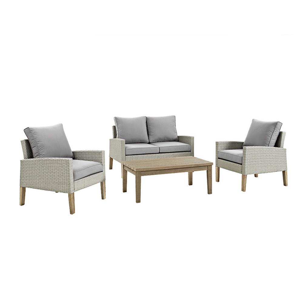 Peachy Walker Edison Furniture Company Eucalyptus 4 Piece Wicker Deep Seating Set With Grey Cushions Unemploymentrelief Wooden Chair Designs For Living Room Unemploymentrelieforg