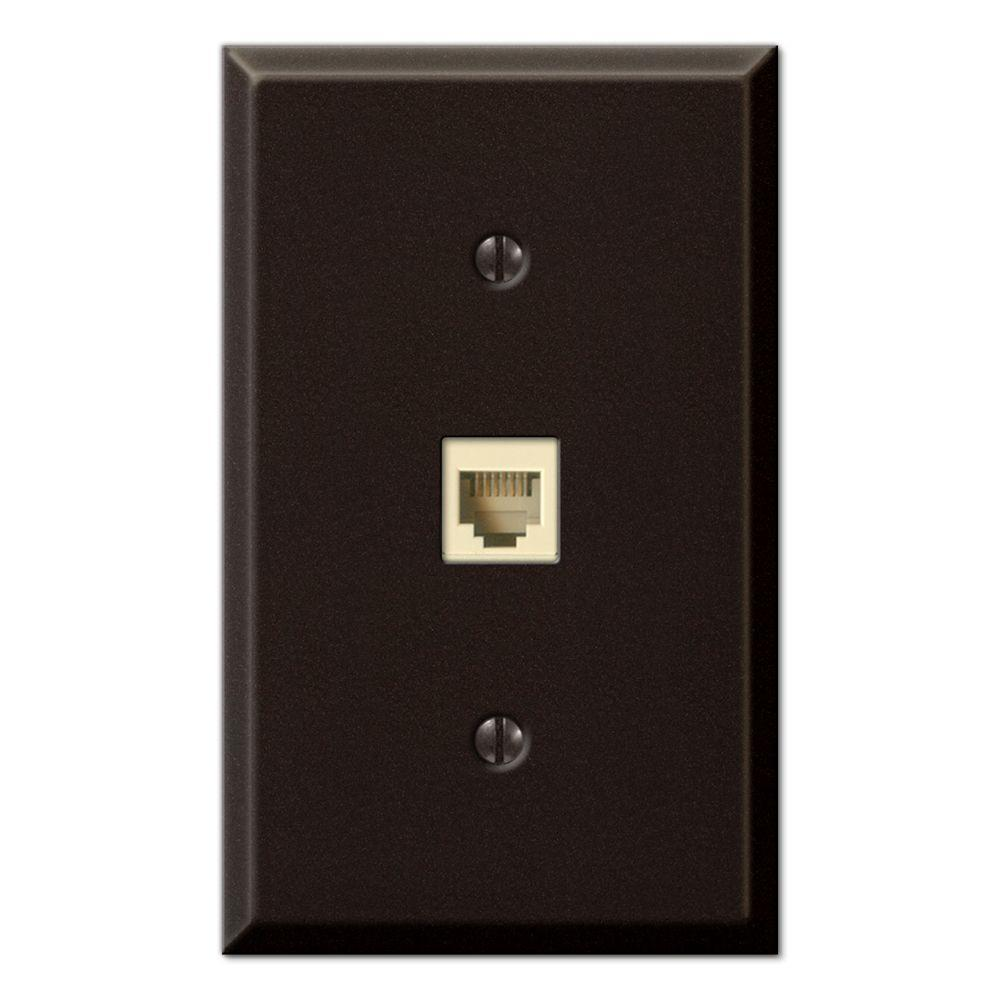 Creative Accents Steel 1 Phone Wall Plate - Antique Bronze