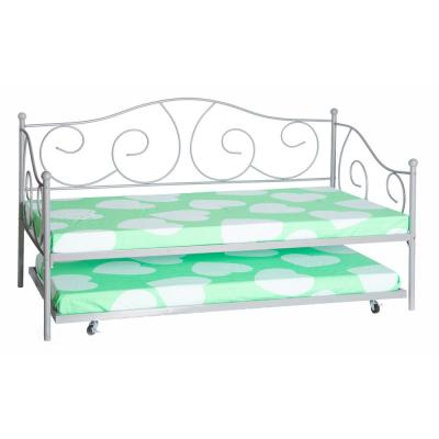 Silver Gray Twin Size Metal Daybed and Trundle Bed Frame Set, Platform Bed with Casters