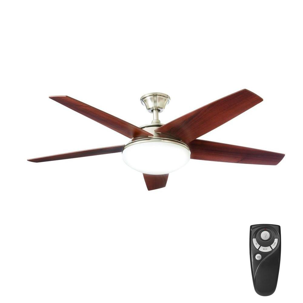Home Decorators Collection Piccadilly 52 In Led Indoor Brushed Nickel Ceiling Fan With Light
