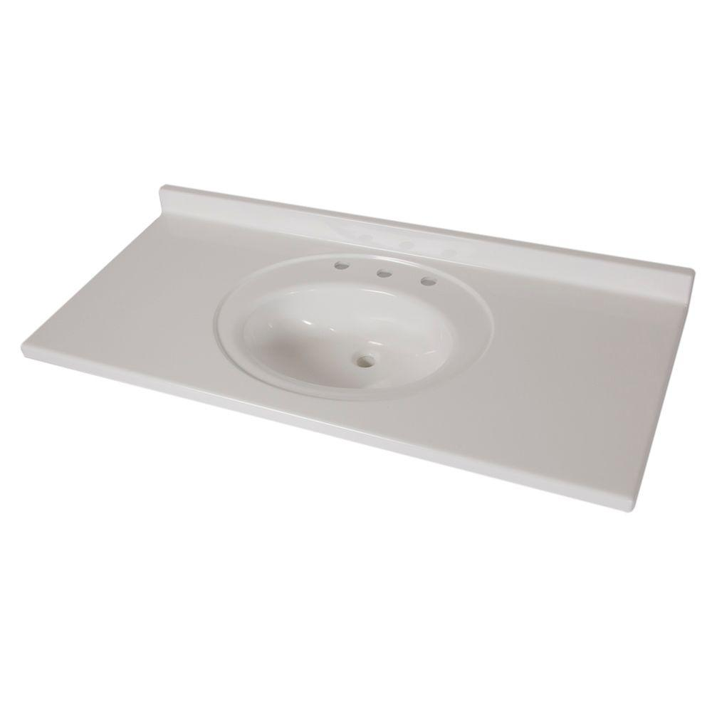 St. Paul 49 in. x 22 in. AB Engineered Technology Vanity Top in White with Bowl