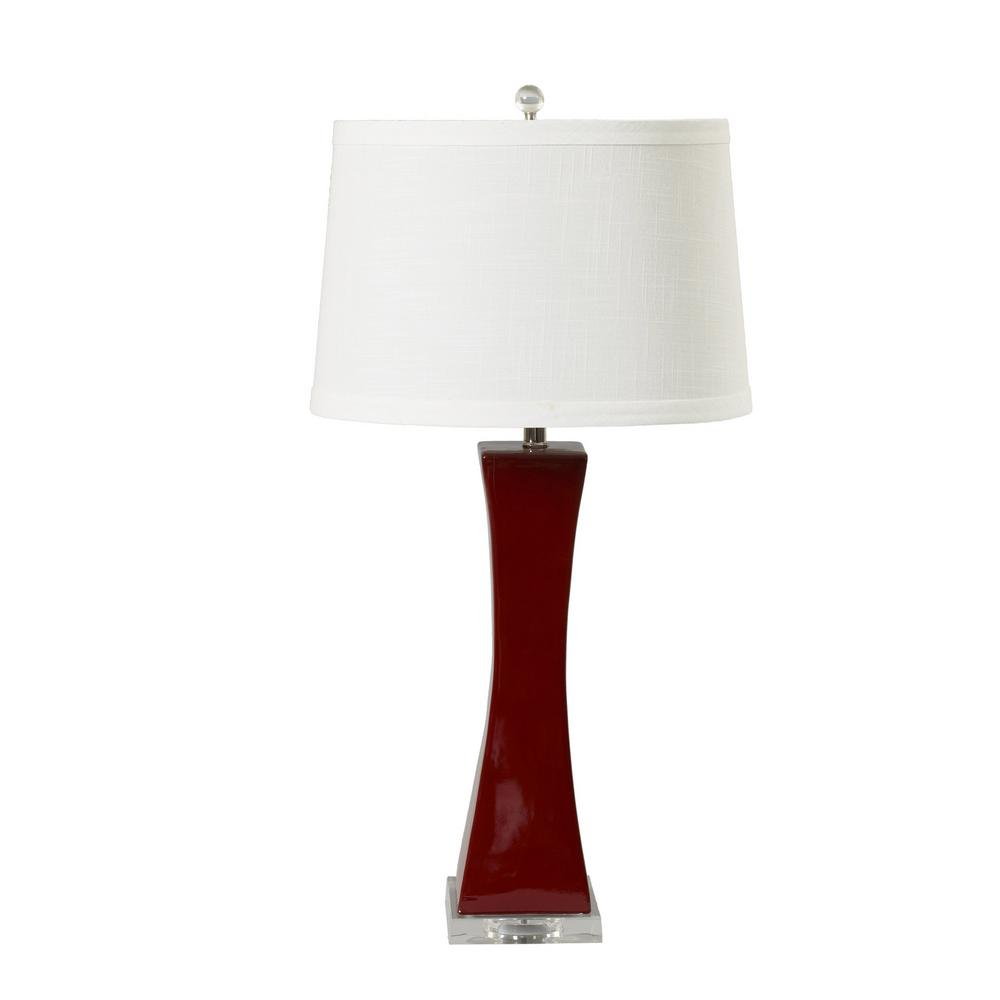 Fangio lighting 33 in red tapered column ceramic and acrylic table fangio lighting 33 in red tapered column ceramic and acrylic table lamp aloadofball Image collections
