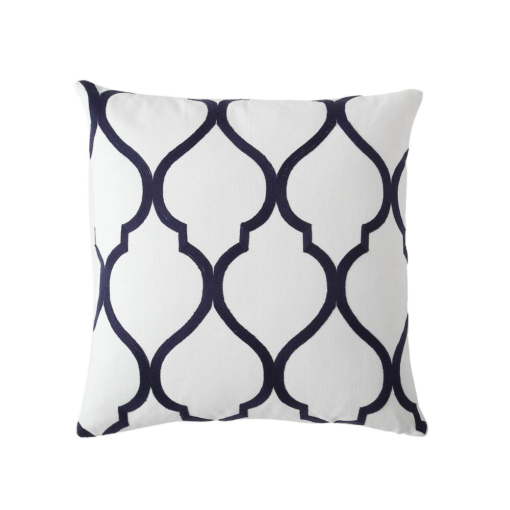Morgan Home 18 In Madison Navy Trellis Throw Pillow Cover