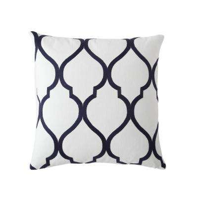 Morgan Home 18 in. Madison Navy Trellis Throw Pillow Cover