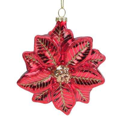 5 in. Red and Gold Glittery Poinsettia Glass Christmas Ornament