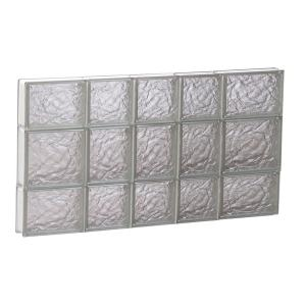 32.75 in. x 19.25 in. x 3.125 in. Frameless Ice Pattern Non-Vented Glass Block Window
