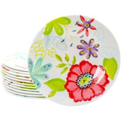 Flora Assorted Color Dessert Plate (Set of 12)