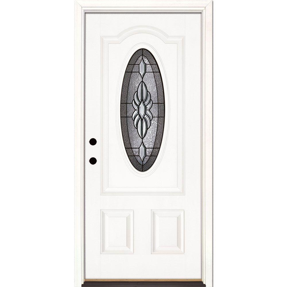 Feather River Doors 33.5 in. x 81.625 in. Sapphire Patina 3/4 Oval Lite Unfinished Smooth Right-Hand Inswing Fiberglass Prehung Front Door
