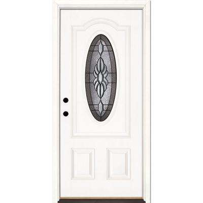 33.5 in. x 81.625 in. Sapphire Patina 3/4 Oval Lite Unfinished Smooth Right-Hand Inswing Fiberglass Prehung Front Door