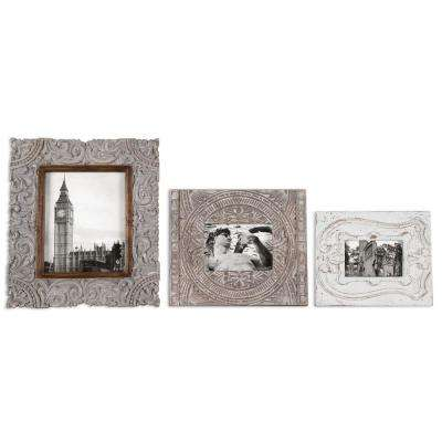 Askan Photo Frames in Aged White (Set of 3)