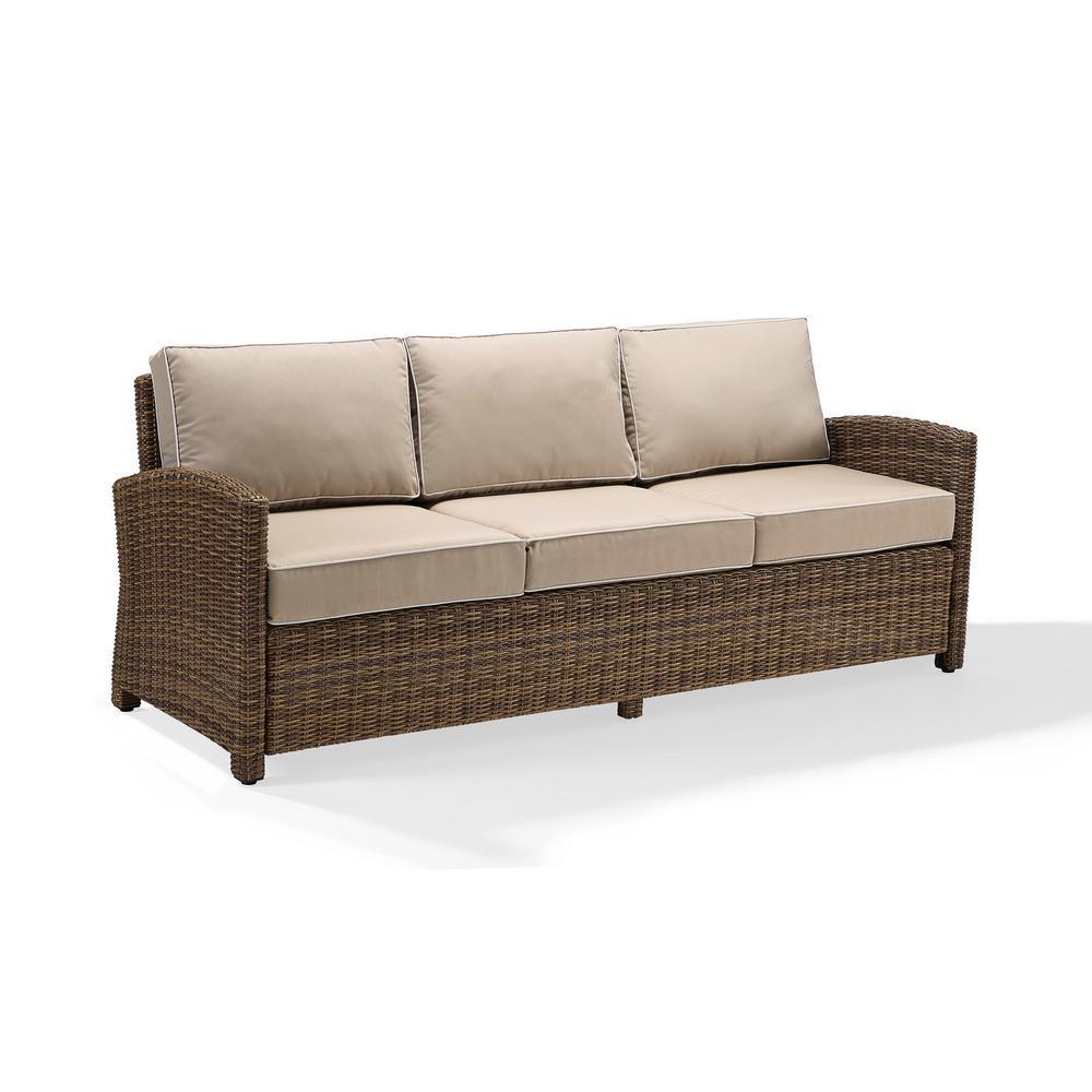 Crosley Bradenton Wicker Outdoor Sofa With Sand Cushions