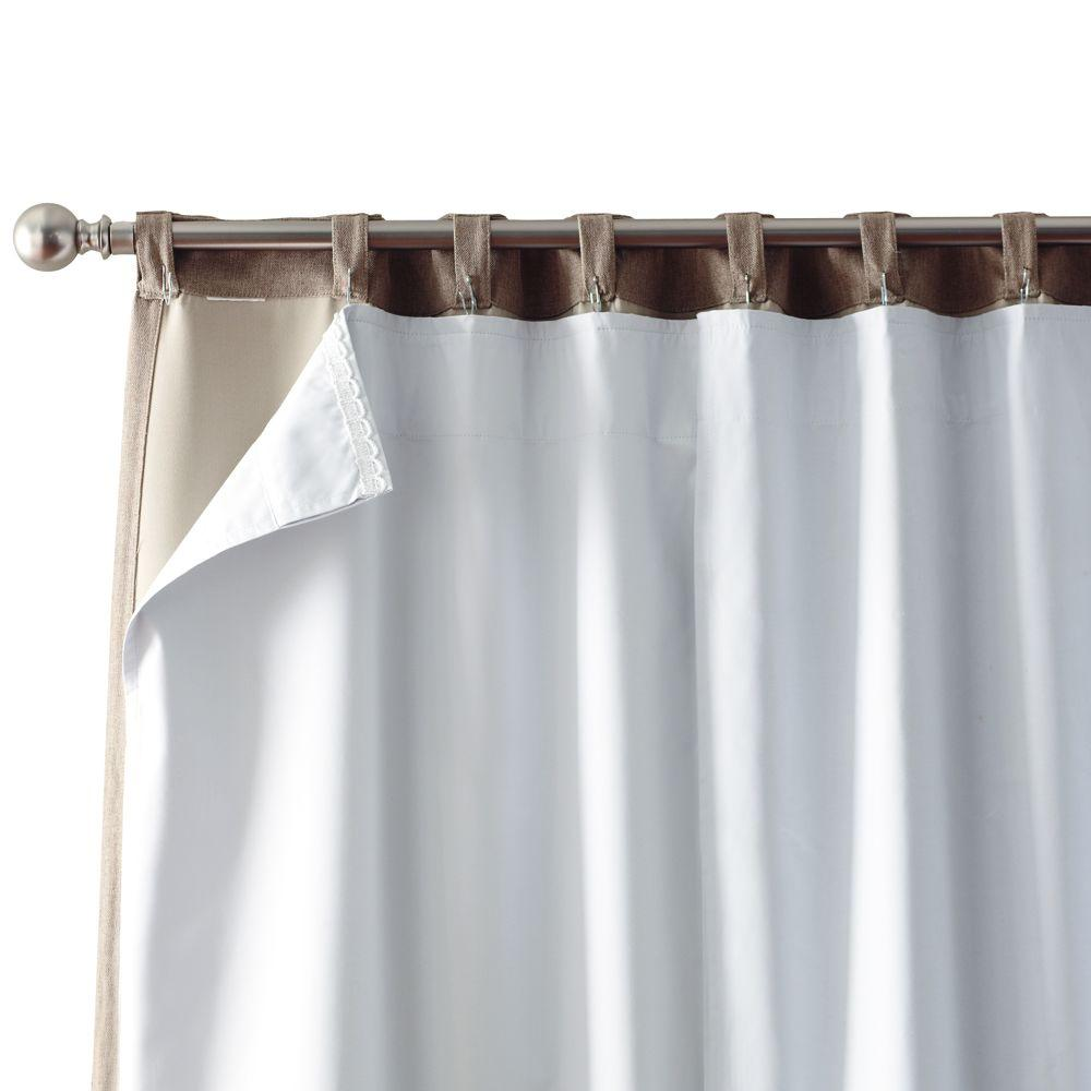 Home Decorators Collection Blackout White Blackout Back Tab Curtain Liner  27 In. W X 80 In. L (2 Panels) 1623918   The Home Depot