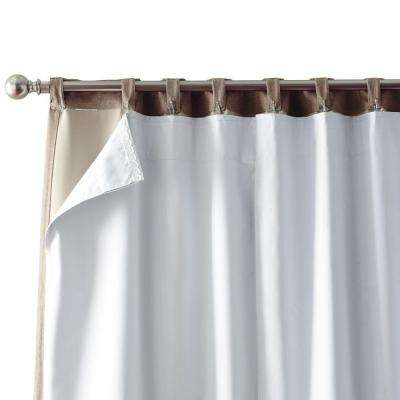 Blackout White Blackout Back Tab Curtain Liner 27 in. W x 80 in. L (2 panels)