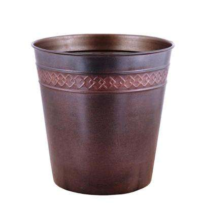 3 gal. Modern Chain Design Bronze/Copper Round Trash Can