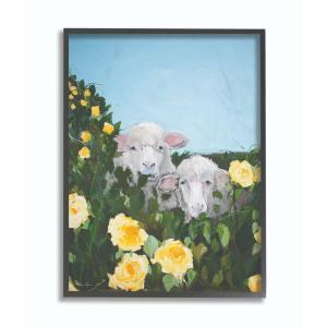 11 in. x 14 in. ''Sheep Family In Flowers Green Blue Painting'' by Melissa Lyons Framed Wall Art