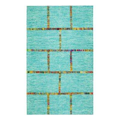 Aditi Flat Weave Blue 8 ft. x 10 ft. Area Rug