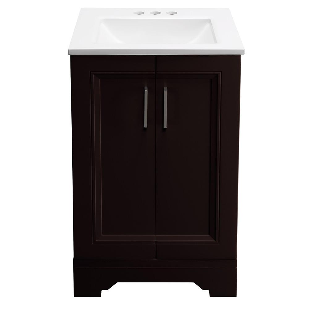 Glacier Bay Willowridge 18 1 2 In W Bath Vanity In Carob With Cultured Marble Vanity Top In White With White Sink Ppavlcab18 The Home Depot