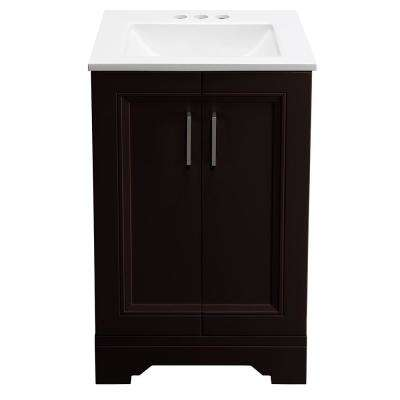 Willowridge 18-1/2 in. W Bath Vanity in Carob with Cultured Marble Vanity Top in White with White Sink
