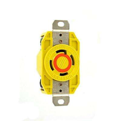 30 Amp 125/250-Volt Flush Mounting Locking Outlet Industrial Grade Grounding Corrosion Resistant, Yellow