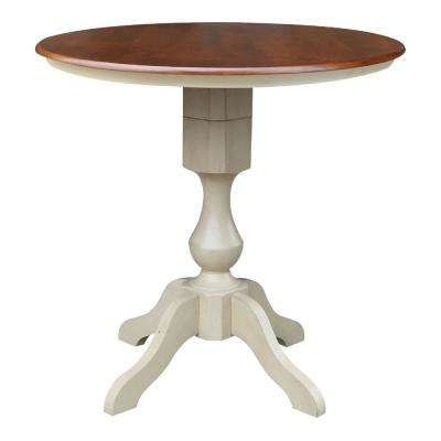 Sophia 36 in. Almond and Espresso Round Counter-Height Table