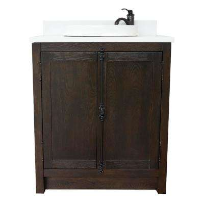 Plantation 31 in. W x 22 in. D Bath Vanity in Brown with Quartz Vanity Top in White with White Round Basin