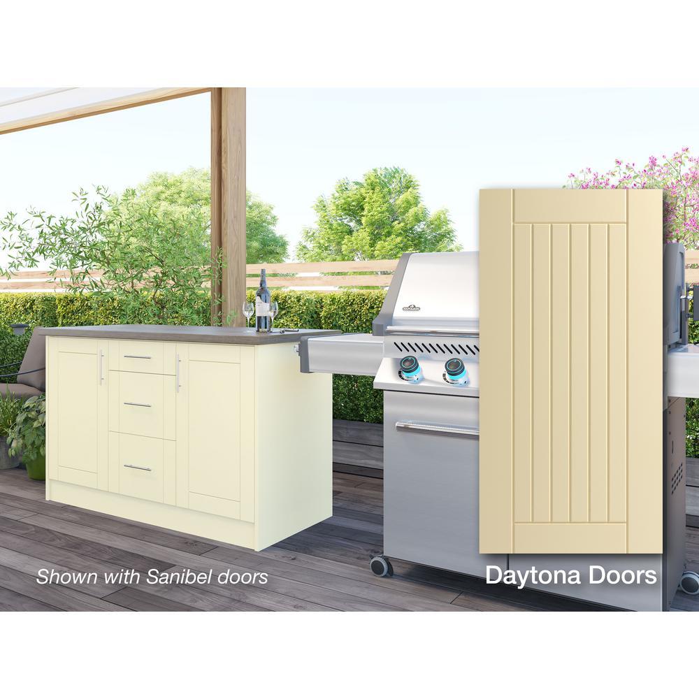 Daytona Bluff Beige 14-Piece 55.25 in. x 34.5 in. x 25.5 in. Outdoor Kitchen Cabinet Island Set
