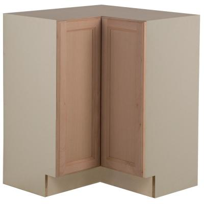 Easthaven Shaker Assembled 27.7 in. x 34.5 in. x 27.7 in. Frameless Lazy Susan Corner Base Cabinet in Unfinished Beech