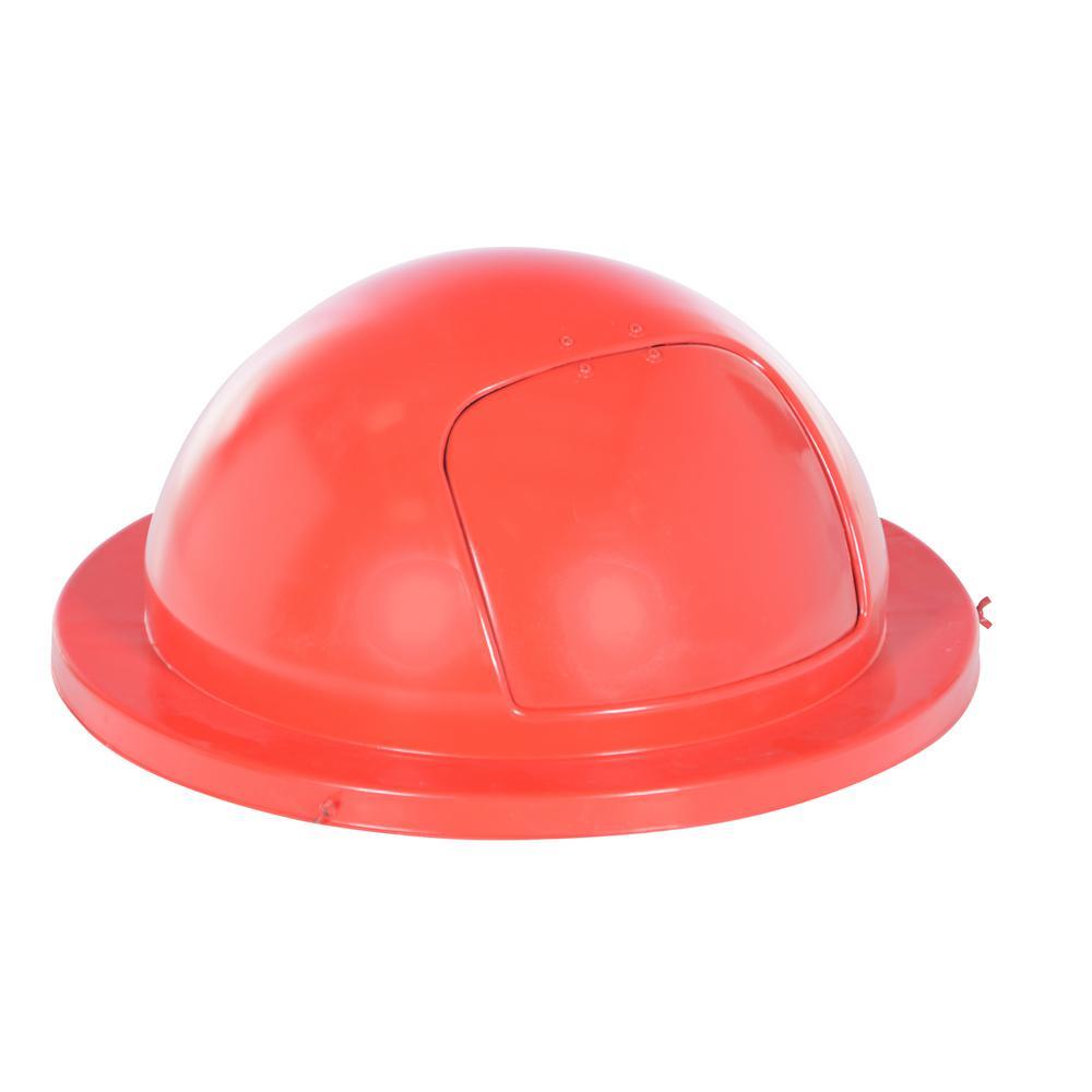 Vestil 55 gal fiberglass waste drum top red ftt rd the home depot - Rd wastebasket ...