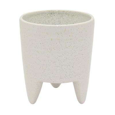 7 in. Ceramic Flower Pot in White