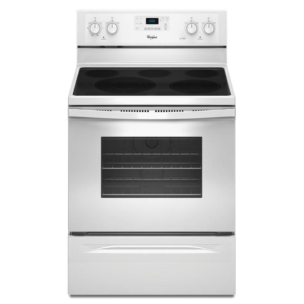 Whirlpool 5.3 cu. ft. Electric Range with Self-Cleaning Convection Oven in White