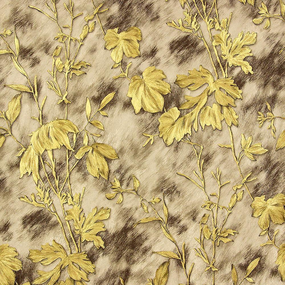 8 in. x 10 in. Portofino Light Brown Cow Leaves Wallpaper Sample