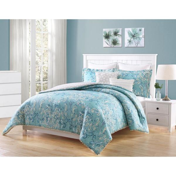 Finley Aqua, White and Taupe PomPom 7-Piece Reversible Full and Queen