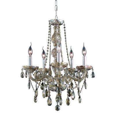 5-Light Golden Teak Chandelier with Golden Teak Smoky Crystal