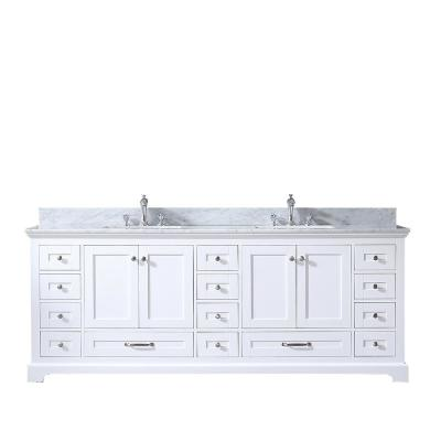 Dukes 84 in. Double Vanity White, White Carrera Marble Top White Square Sinks and No Mirror