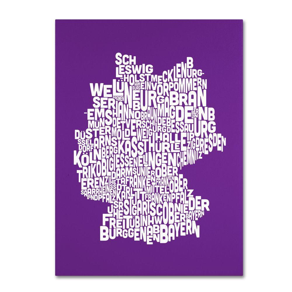null 14 in. x 19 in. Germany Regions Map - Purple Canvas Art