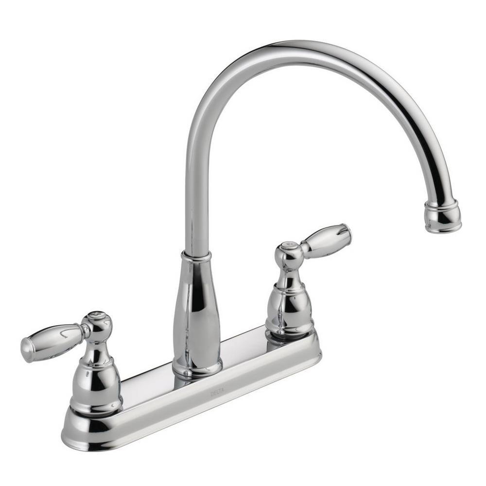 kitchen faucets delta foundations 2 handle standard kitchen faucet in chrome 21987lf the home depot 3355