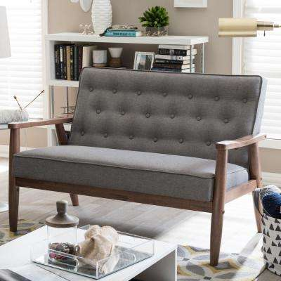 Sorrento Mid-Century Gray Fabric Upholstered Loveseat