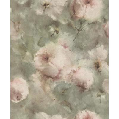 Innocent Light Brown Watercolor Floral Wallpaper