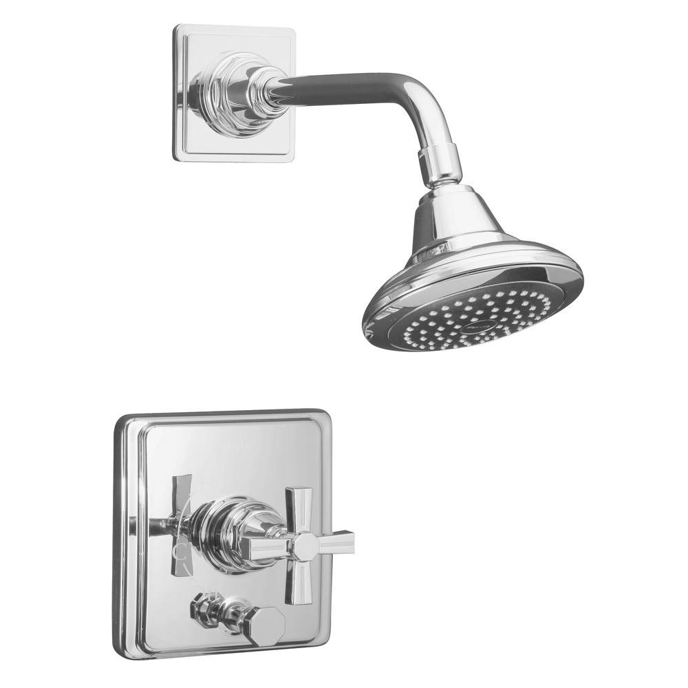 KOHLER Pinstripe 1-Handle Rite-Temp Pressure-Balancing Shower Faucet Trim Kit in Vibrant Polished Nickel (Valve Not Included)