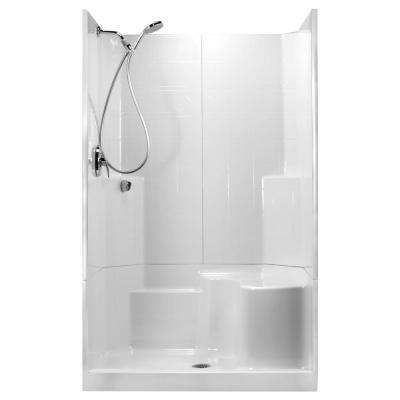 48 in. x 36 in. x 80 in. STD 3-Piece Low Threshold Shower Stall in White, RHS Molded Seat, Shower Kit, Center Drain