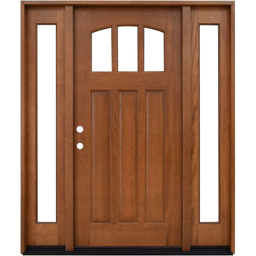Craftsman 3 Lite Arch Stained Mahogany Wood Prehung Front Door With Sidelites M4151 6011 10 4rh The Home Depot