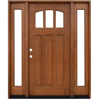 Craftsman 3 Lite Arch Stained Mahogany Wood Prehung Front Door with Sidelites & Front Doors - Exterior Doors - The Home Depot