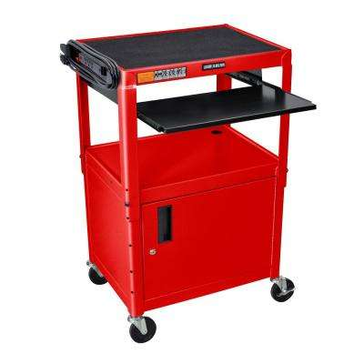 Adjustable Height 24 in. Steel A/V Cart with Cabinet and Pullout Shelf in Red