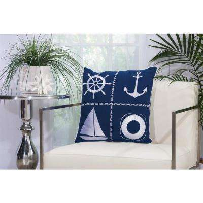 Nautical Grid 18 in. x 18 in. Navy and White Indoor and Outdoor Pillow