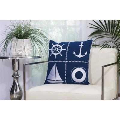 Nautical Grid Navy and White Geometric Stain Resistant Polyester 18 in. x 18 in. Throw Pillow