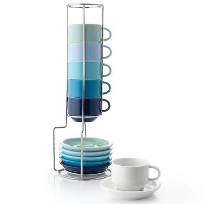Stackable Espresso Cups - 2.5 Ounce - Cool Assorted,  Set of 6 ( white, turquoise, steel blue, navy, lilac, green)