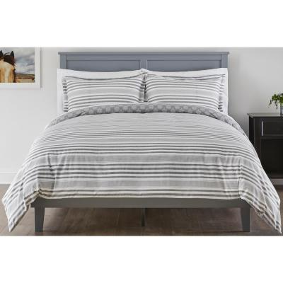 Malcolm 3-Piece Stone Gray Stripe Full/Queen Duvet Cover Set