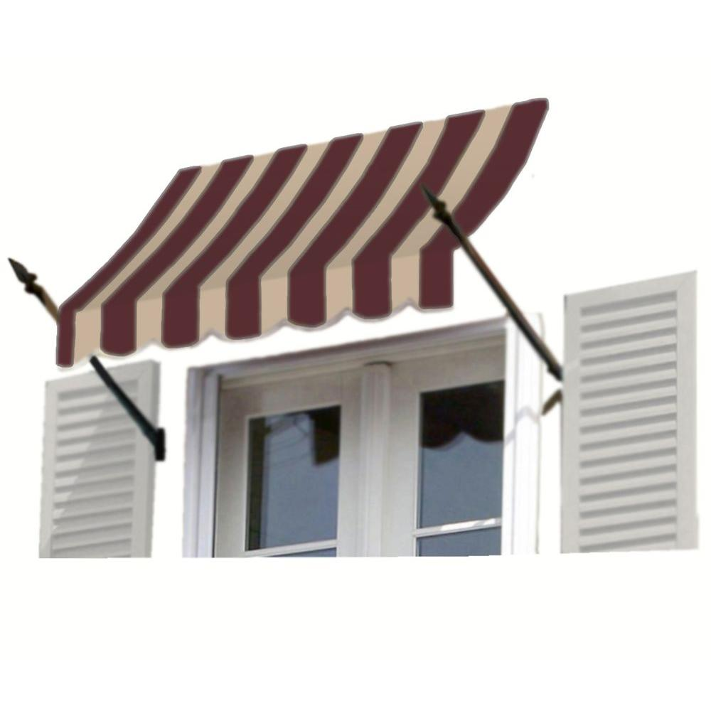 AWNTECH 12 ft. New Orleans Awning (44 in. H x 24 in. D) in Brown/Tan Stripe
