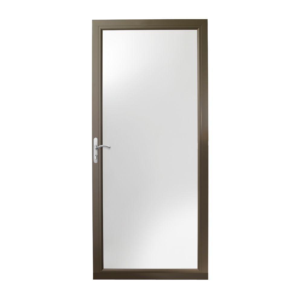36 in. x 80 in. 3000 Series Terratone Left-Hand Fullview Easy Install Aluminum Storm Door with Nickel Hardware