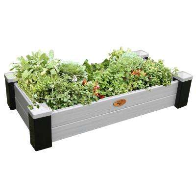 24 in. x 48 in. x 10 in. Maintenance Free Black and Gray Vinyl Raised Garden Bed